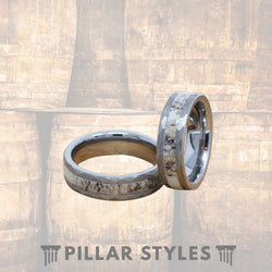 Deer Antler with Titanium 8mm Men Wedding Band - Pillar Styles