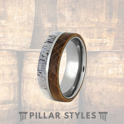 Whiskey Barrel Wedding Band with Antler Inlay - Pillar Styles