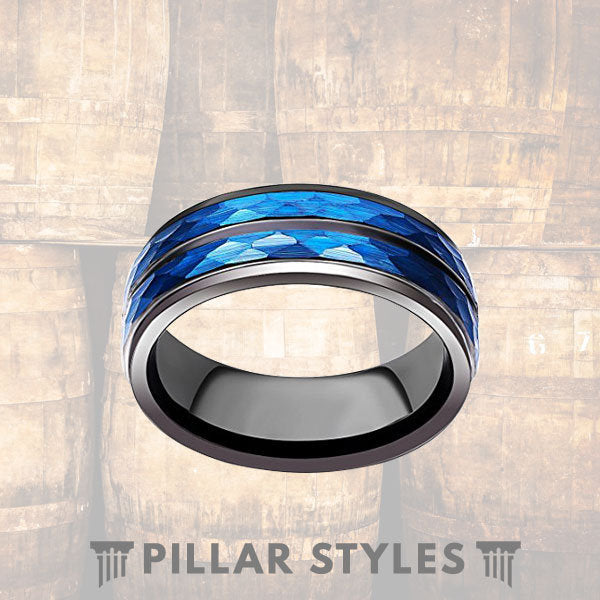 Hammered Blue Tungsten Wedding Band Men - Pillar Styles