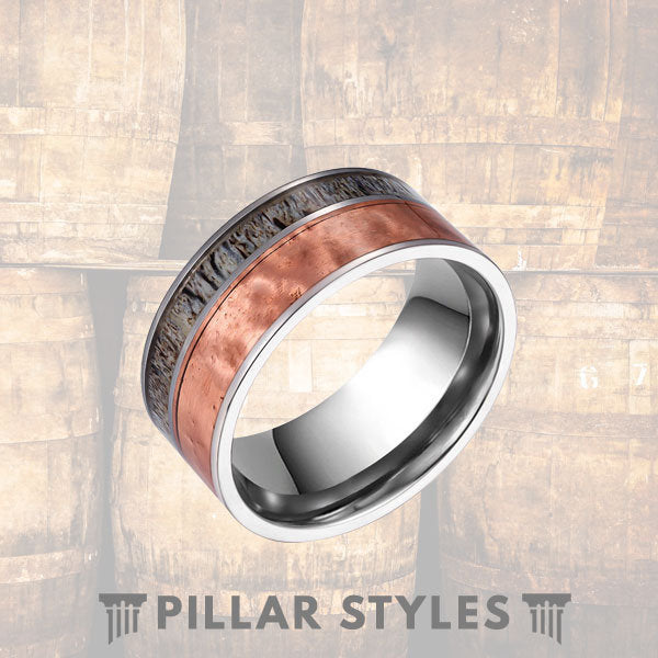 Deer Antler Ring 10mm Copper Mens Wedding Band Hammered Ring - Pillar Styles