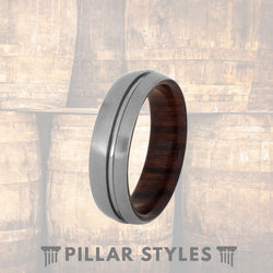 Mens Wood Wedding Band Silver Titanium Ring - Pillar Styles