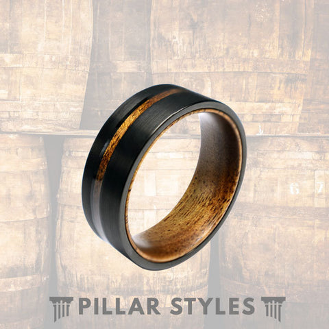 Black Brushed Mens Wedding Band Titanium Ring - Pillar Styles