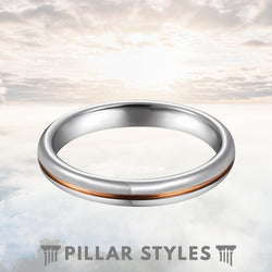 3mm Silver & 18K Rose Gold Tungsten Wedding Band - Pillar Styles