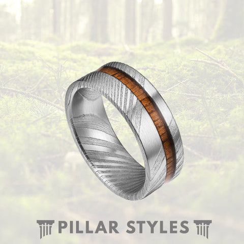 Damascus Steel Ring Hawaiian Koa Wood Band - Pillar Styles