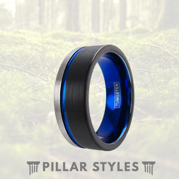 Black & Silver Tungsten Mens Wedding Band Thin Blue Line Ring - Pillar Styles