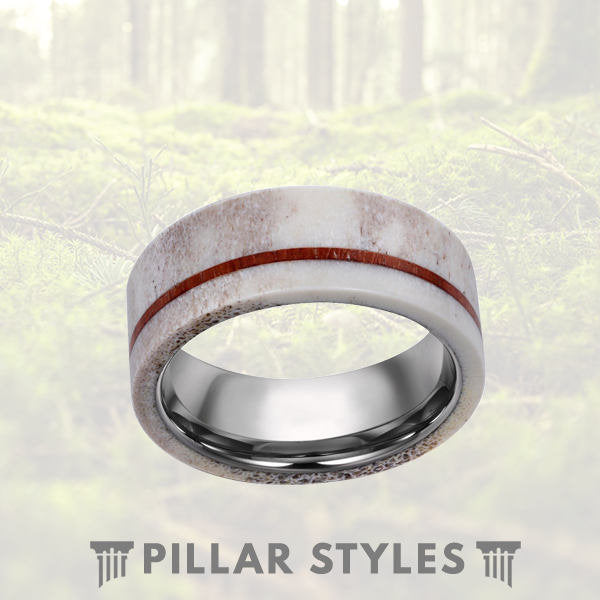 Deer Antler Ring with Koa Wood Inlay Tungsten Ring - Pillar Styles