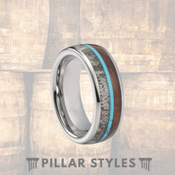 Deer Antler Ring with Koa Wood & Turquoise Tungsten Ring - Pillar Styles