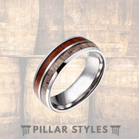 Tungsten Deer Antler Ring with Rare Koa Wood Wedding Band - Pillar Styles