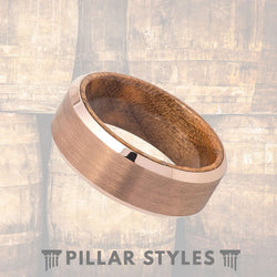 Rose Gold Tungsten Ring Wood Inlay - Pillar Styles