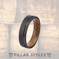 6mm Whiskey Barrel Ring Black Tungsten Wedding Band - Pillar Styles