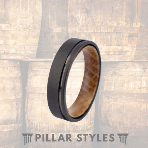 Whiskey Barrel Ring Gun Metal Grey Mens Wedding Band - Pillar Styles