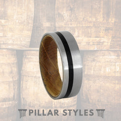 Whiskey Barrel Ring Silver Brushed Mens Titanium Ring Oak Wood Ring - Pillar Styles