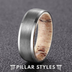 Mens Wedding Band Deer Antler Ring 8mm Brushed Silver Tungsten Ring - Pillar Styles