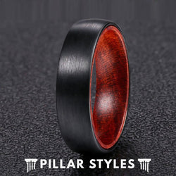 6mm Mens Wedding Band Tungsten Ring with Premium Rose Wood Ring - Pillar Styles