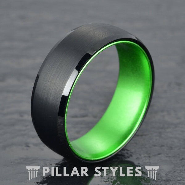 Thin Green Line Ring Mens Wedding Band Green Tungsten Ring - Pillar Styles
