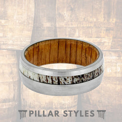 Oak Wood Ring Mens Wedding Band - Pillar Styles