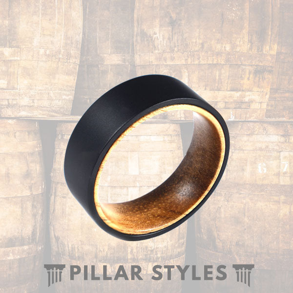 Mens Wedding Band Acacia Wood Ring with Titanium Sandblasted Ring - Pillar Styles
