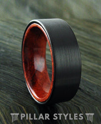 Tungsten Sandal Wood Wedding Band - Pillar Styles