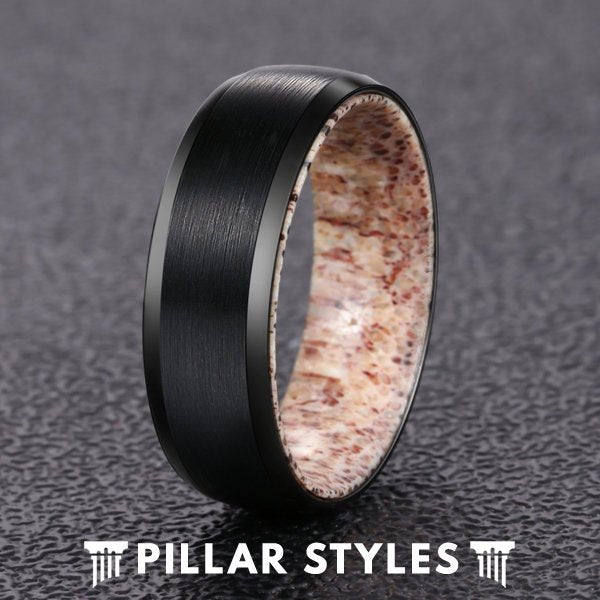 8mm Deer Antler Ring Brushed Black Tungsten Ring - Pillar Styles