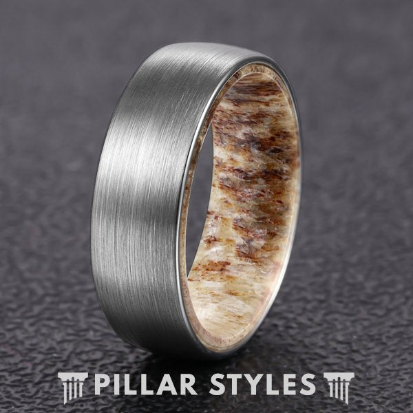 8mm Mens Wedding Band Deer Antler Ring Brushed Silver Tungsten Ring - Pillar Styles