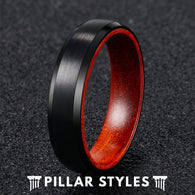 Mens Wedding Band Tungsten Ring with Beveled Edges & Rosewood Inlay - Pillar Styles