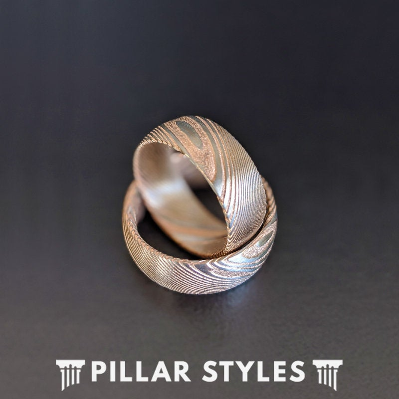 8mm Damascus Steel Ring Mens Wedding Band Rose Gold Damascus Ring - Unique Mens Ring - Pillar Styles