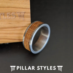 Gunmetal Whiskey Barrel Ring Wood Wedding Band Mens Ring 8mm Bourbon Barrel Tungsten Ring - Pillar Styles