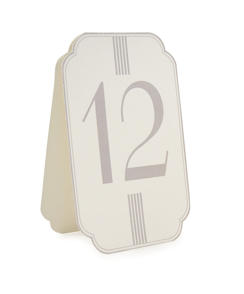 Cream & Grey Table Numbers 1-12 - Wedding Boutique