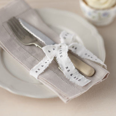 Mr & Mrs White Frayed Ribbon - Wedding Boutique