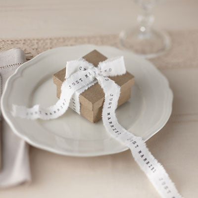 Just Married White Frayed Ribbon - Wedding Boutique