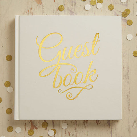 White & Silver Foiled Wedding Guest Book