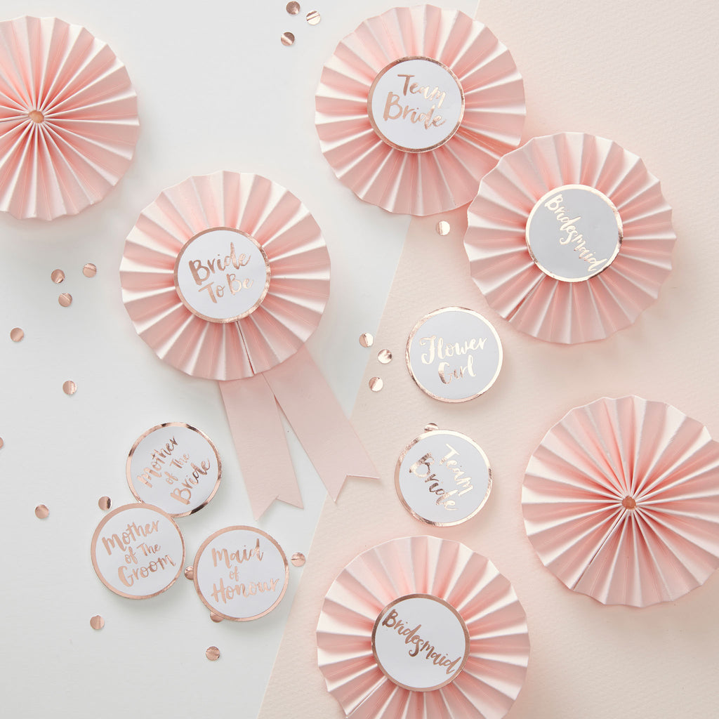 Team Bride Rose Gold Hen Party Badge Kit - Wedding Boutique