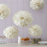 Tissue Paper Pom Poms in Ivory - Wedding Boutique