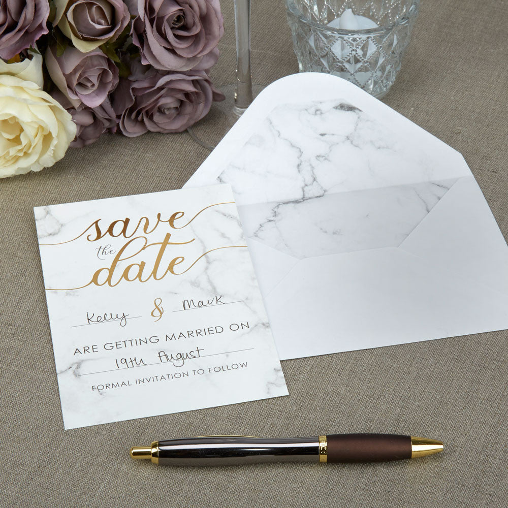 Scripted Marble Save The Dates x10 - Wedding Boutique