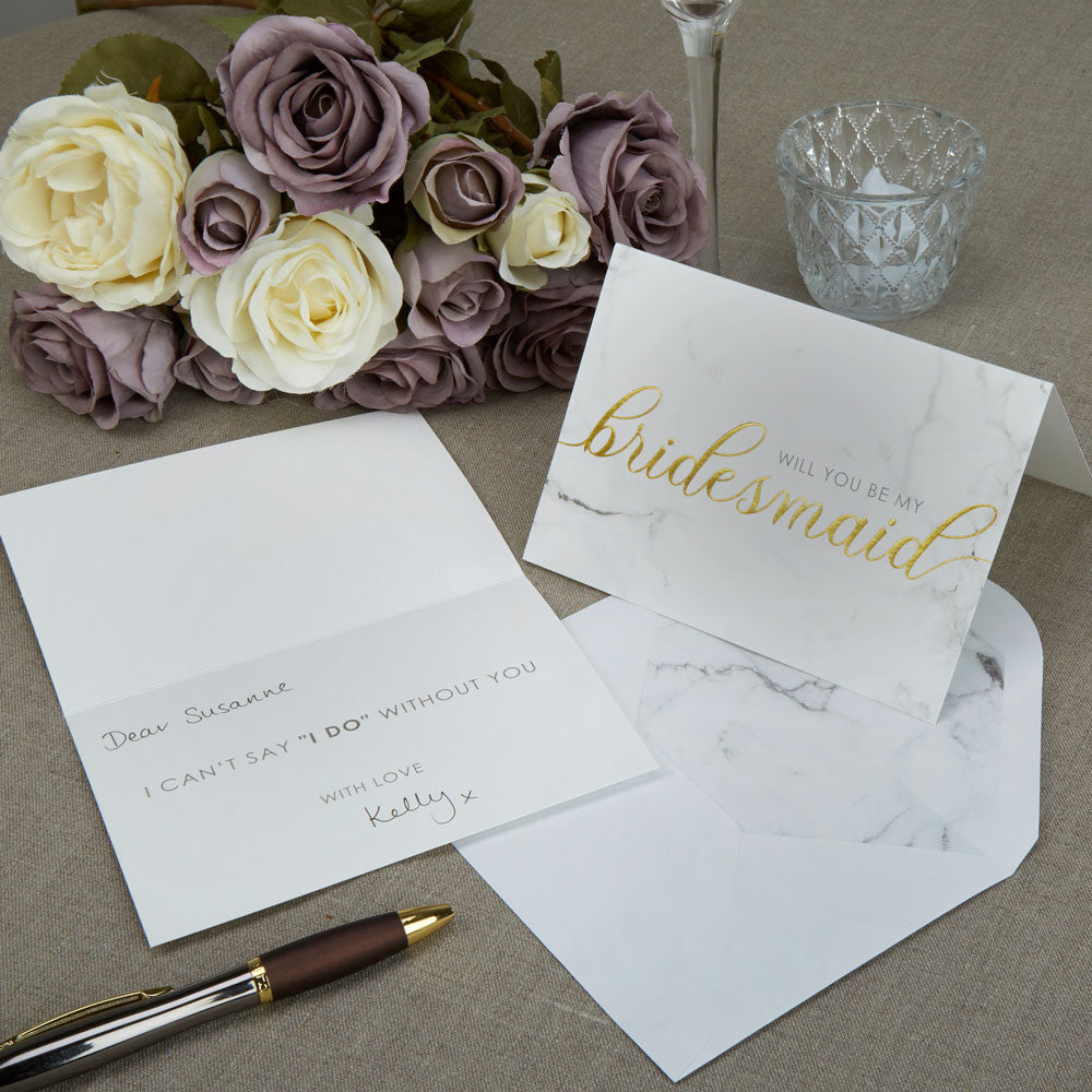 Scripted Marble Bridesmaid Cards - Wedding Boutique
