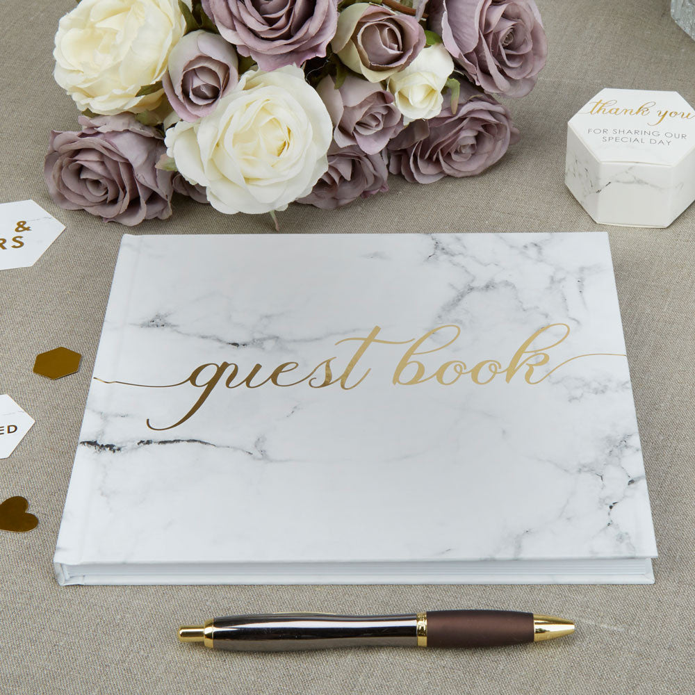 Scripted Marble Guest Book - Wedding Boutique