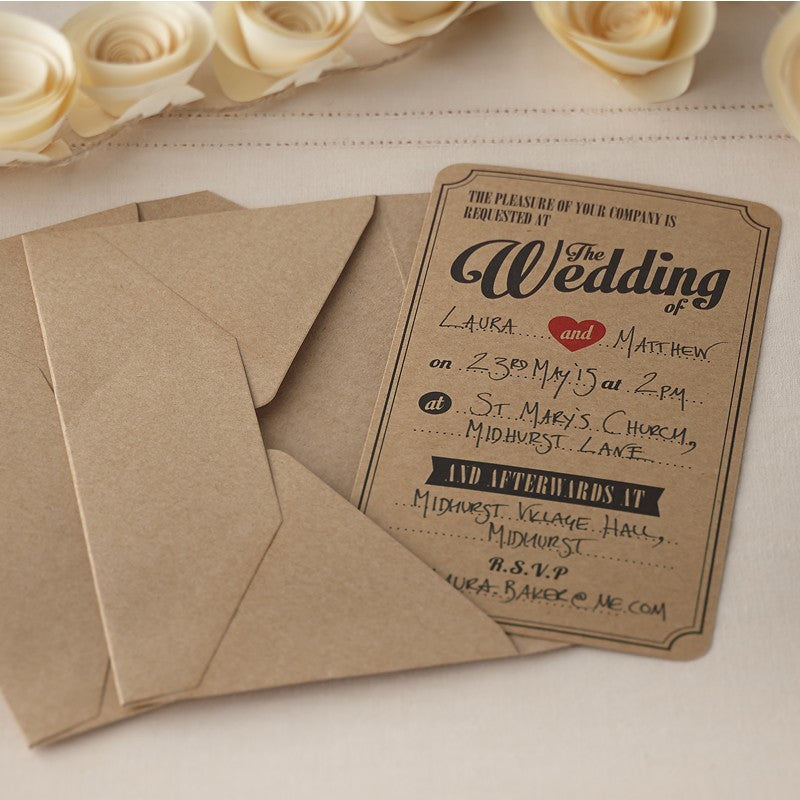 Kraft Wedding Invitations - Wedding Boutique