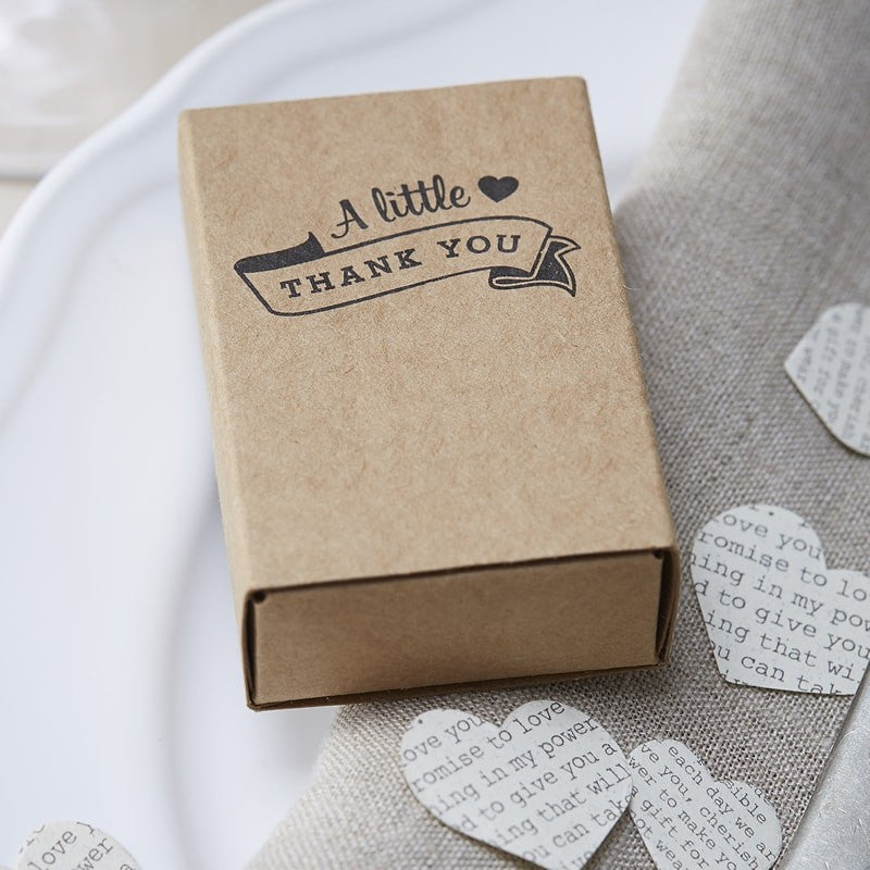 Kraft Matchbox Favour Boxes x10 - Wedding Boutique
