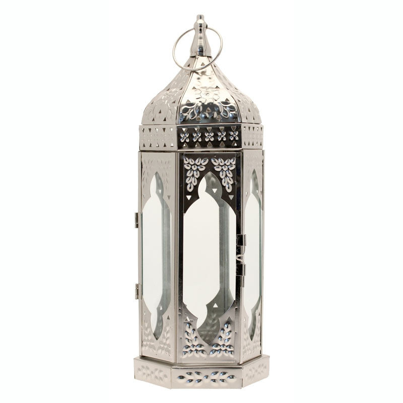 Silver Moroccan Lantern 38.5cm - Wedding Boutique