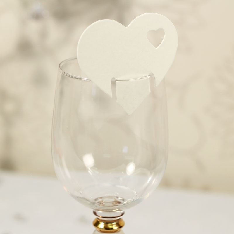 Heart Place Cards in Ivory x10 - Wedding Boutique
