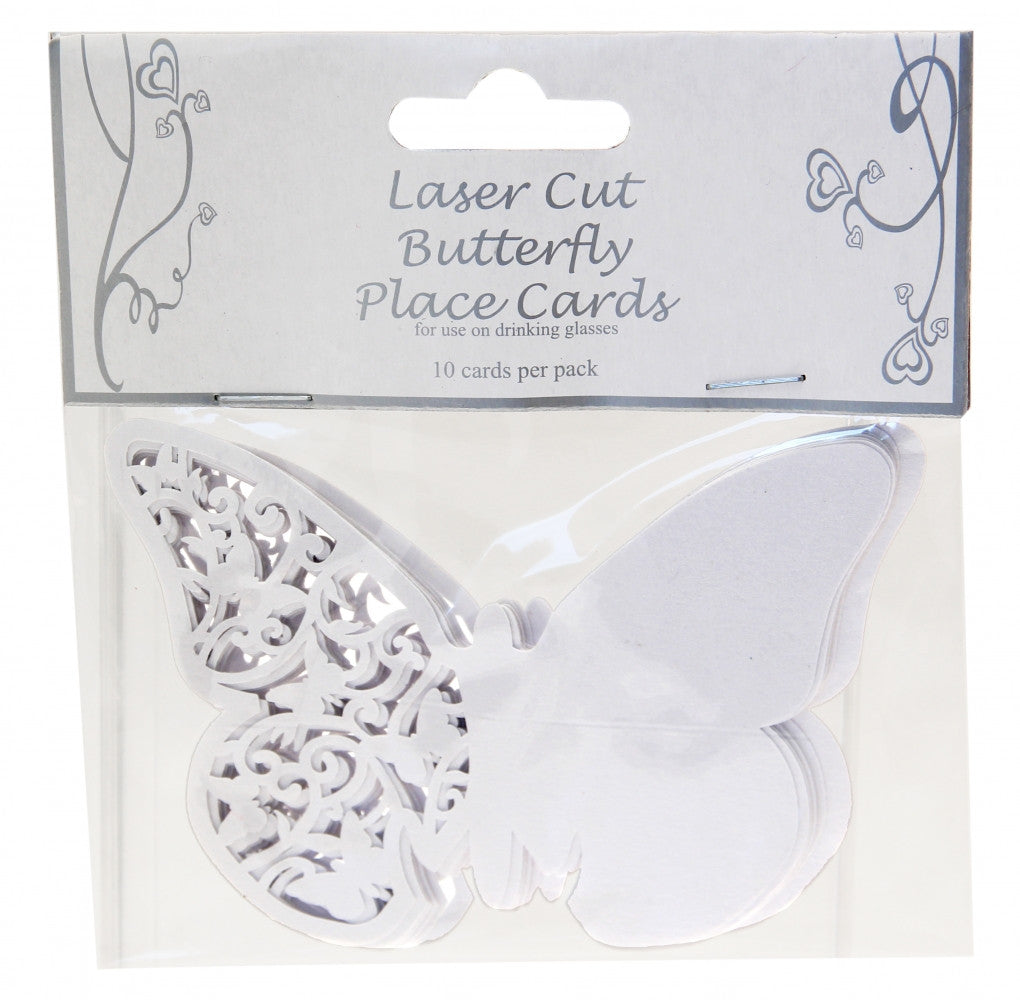 White Lace Butterfly Place Cards x10 - Wedding Boutique