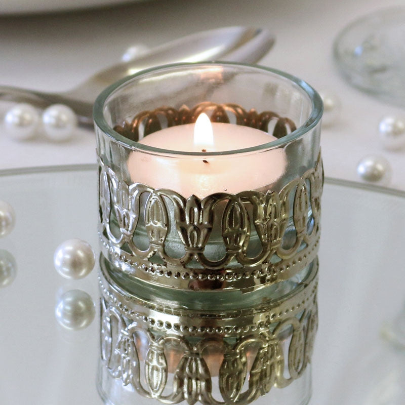 Tea Light Votive with Metal Detail - Wedding Boutique