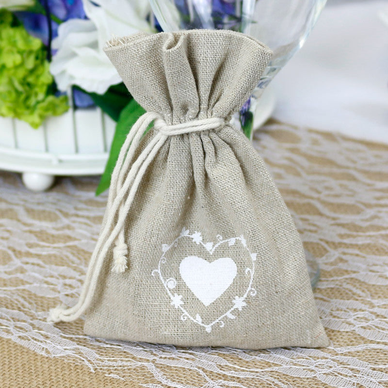 Heart Hessian Favour Bag x10 - Wedding Boutique