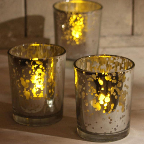 Tea Light Votive with Metal Detail