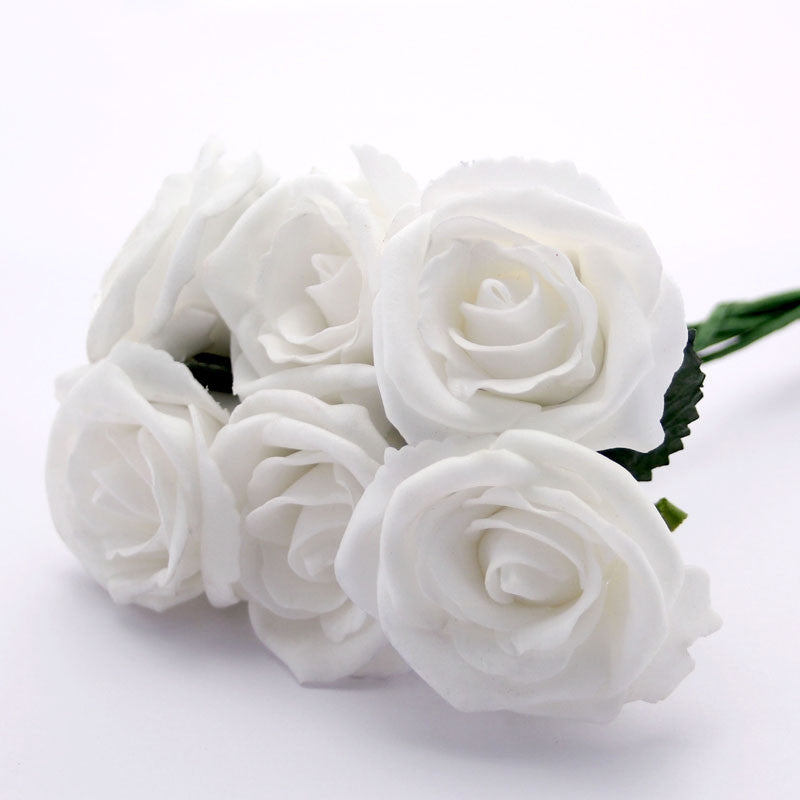 Small Foam Roses in White x6 - Wedding Boutique