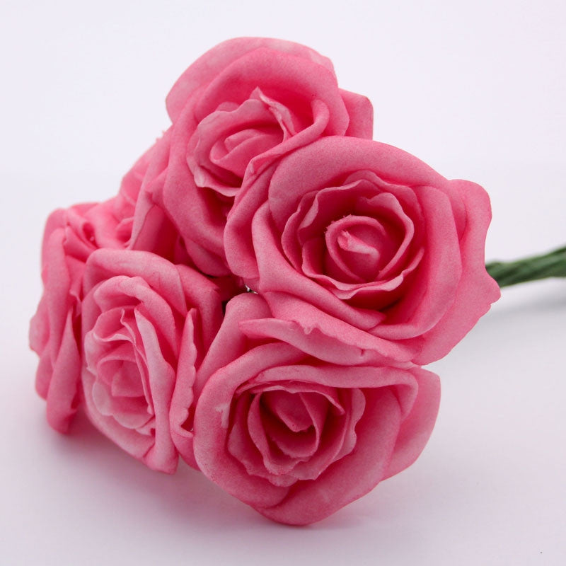 Small Foam Roses in Hot Pink x6 - Wedding Boutique