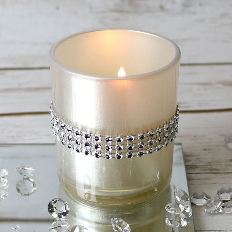 Cream Pearl Diamante Votive - Wedding Boutique