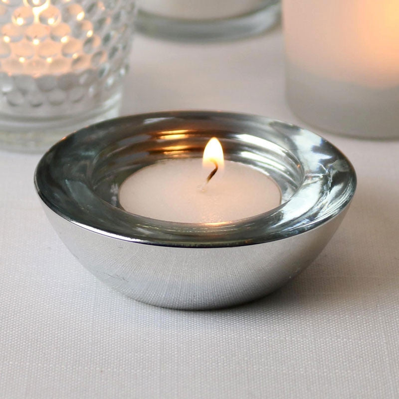 Round Silver Tea Light Holder - Wedding Boutique