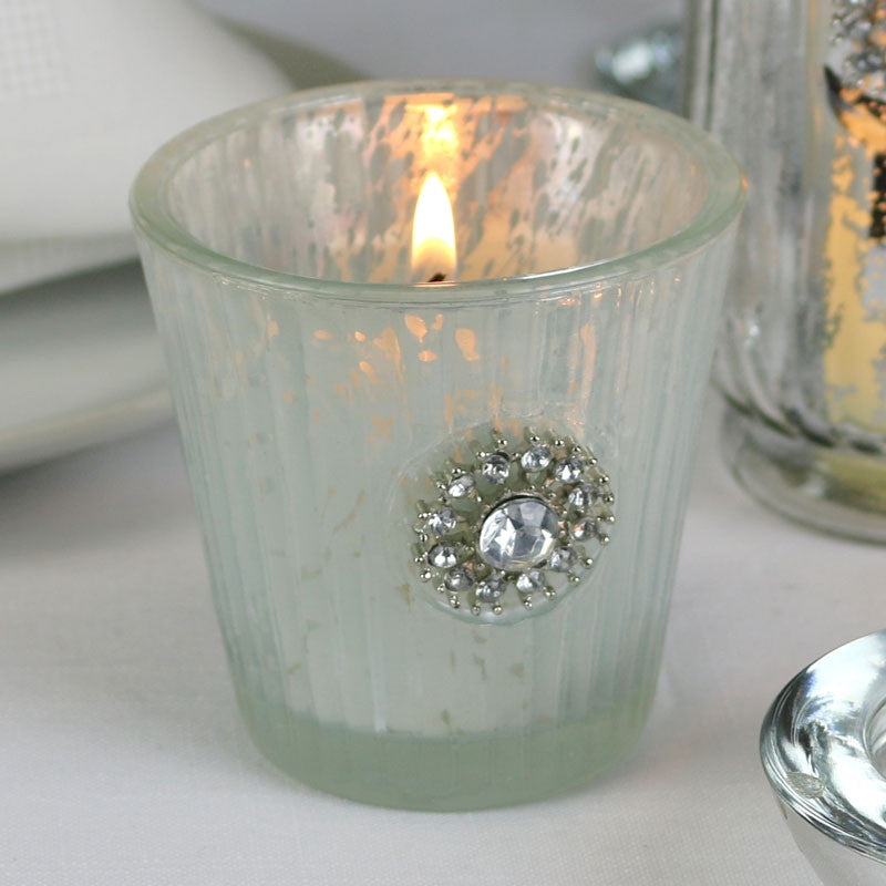 Embellished White Tea Light Holder - Wedding Boutique