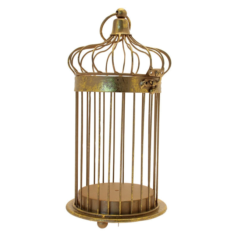 Distressed Gold Birdcage - Wedding Boutique